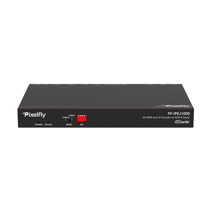 Pixelfly 4K30 HDMI over IP video encoder with Dante