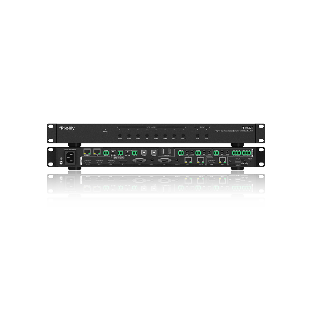 Pixelfly 8x2 Multi-Format Conference Collaboration Switcher w/KVM, HDBaseT
